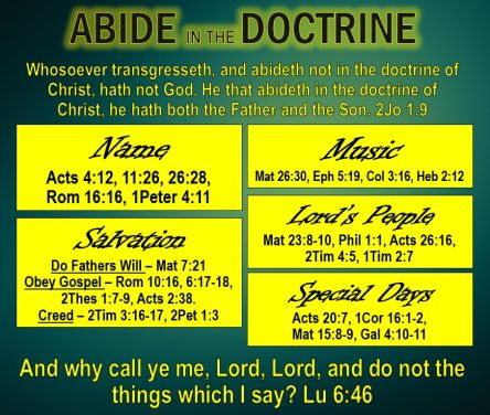 Are you living in the Doctrine of Christ?